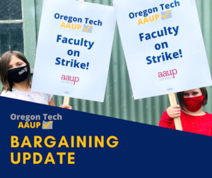 Children holding Oregon Tech Faculty on Strike picket signs